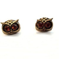 Retro Owl Amber Rhinestone Earrings