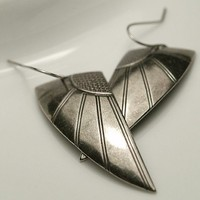 Silver Plated Art Deco Wings Earrings by chrysdesignsjewelry