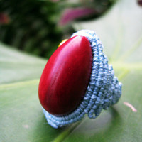 Tagua Nut Hemp Ring - Size 6