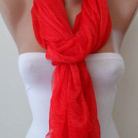 New - Red Summer Scarf - Tulle Fabric - Seamless Shawl