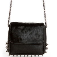 Edgy Studded Purse - Black Purse - Leather Purse - Pony Fur Purse - $54.00