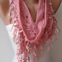 Lightweight Lace Scarf - Rose Pink Lace Scarf with Trim Edge