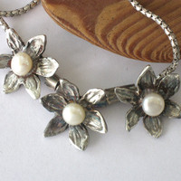 Pearl and silver flower necklace handmade jewelry design