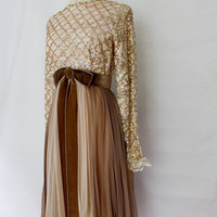 Vintage Sequin  Formal Dress -  Brown Tan Chiffon Party Dress