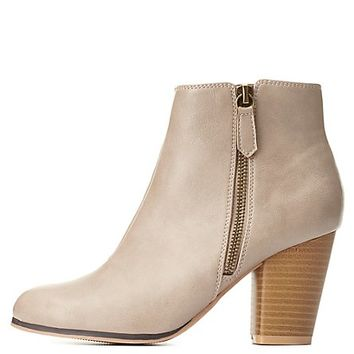 Qupid Zip-Up Chunky Heel Booties by Charlotte Russe - Taupe
