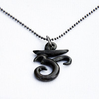 Bronze Om in midnight with aged sterling ball chain