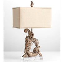 Carved Wood Filigree Artifact Table Lamp - Shades of Light