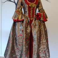 Red and Golden tan embroidered taffeta  Marie Antoinette Victorian inspired rococo costume dress
