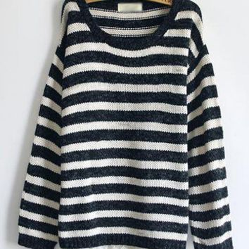 Sweet Striped Long Sleeve Black Sweater$42.00