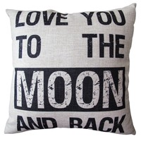 CLELO Decorative 18*18 Inch Linen Cloth Pillow Cover Cushion Case, Love You To...