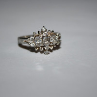 Size 8.75 Heirloom Cluster Stone Ring Vintage Sterling Silver Ring Free US Shipping