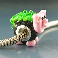 Witch's Pot Bellied Pig Handmade Lampwork Glass Universal bhb European Charm Big Hole Bead sra Gelly