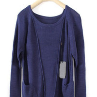 Blue Long Sleeve Pockets Wool Pullovers Sweater - Sheinside.com