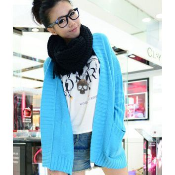 Blue Long Sleeve Women Autumn New Style Fashion Korean Style Loose Pocket Knitting Cardigans One Size @WH0341bl $15.99 only in eFexcity.com.