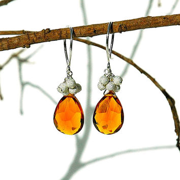 Orange Quartz Dangle Earrings / Sterling Silver / Teardrops / Fire Opal / Modern / Wire Wrapped / Little Black Dress / Gifts For Her / OOAK