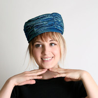 Lovely Vintage Aquamarine Fortune Teller Turban Hat  by zwzzy