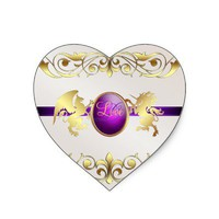 Prince & Princess Purple Love Heart Stickers from Zazzle.com