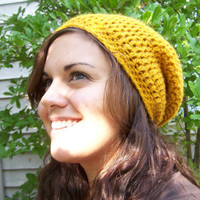 Slouchy Beanie- Mustard Yellow- Gold- Honey- Slouchy Hat- Fall Fashion- Unisex