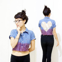 Vintage 90's Crop Top Lace Heart Cutout Ombre Denim