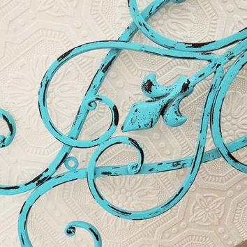 Large Wrought Iron Wall Art Turquoise Blue Rustic Beach Cottage Wall Decor