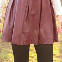Young At Heart Faux Leather Skirt-Plum Wine