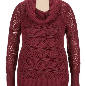 Plus Size - Open Stich Cowl Neck Sweater - Red