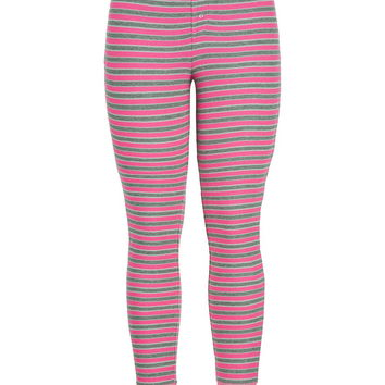 Striped Thermal Leggings - Pretty In Pink
