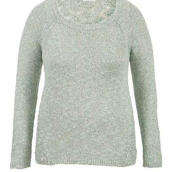 Plus Size - Scoop Neck Sweater With Sequins - Opal Green Combo
