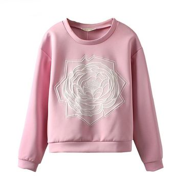 Estrendy Fashionable Women's Pullover Fleece/ Space Cotton With 3D Embossing Flower
