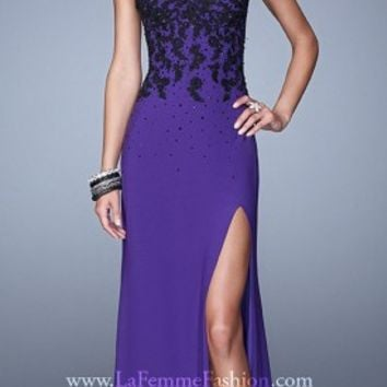 Cascading Lace Applique Prom Dresses by La Femme