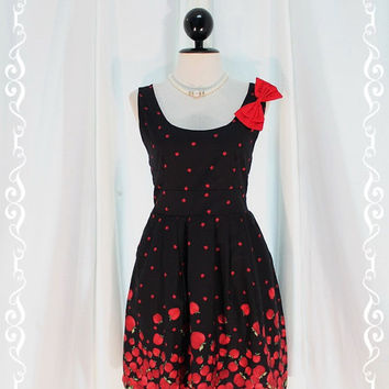 The Apple Tree - Wedding Night Party Cocktail Dinner Chilling Dress Black Color With Cutie Apple Print All Over