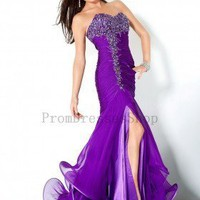 Books Worth Reading / Mermaid Floor-length Sweetheart Dress Low-back Zipper Purple Jovani Prom 1041 Sequins High-slit