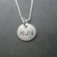 STERLING SILVER RUN YOUR DISTANCE - RUN, 5K, 10K, 13.1 or 26.2 - Sterling Silver Charms on Sterling Silver ball chain or Leather and Sterling Necklace