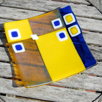 Lemon Zest Yellow and Cobalt Blue Fused Glass Plate - Housewarming or Wedding Gift