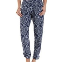 Paisley Print Jogger Pants by Charlotte Russe - Blue Combo