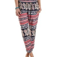 Paisley Print Jogger Pants by Charlotte Russe - Navy Blue Cmb