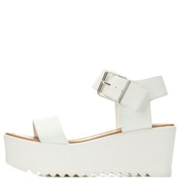 Lug Sole Flatform Wedge Sandal by Charlotte Russe - White