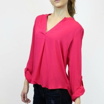 Basic High Low Blouse in Fuschia | Timing