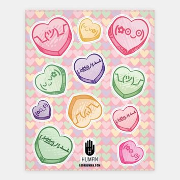 Kawaii Emoji Conversation Heart Stickers