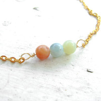 Quirky Anklet - Red, Blue, Green - Gold Chain Anklet - Beaded Amazonite Anklet - ZEN Collection