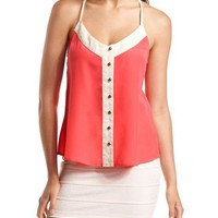 Button-Loop Color Block Tank: Charlotte Russe