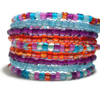 Memory Wire Bracelet Blue Purple Orange Stacked Beaded Wrap