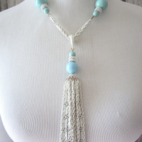 Gorgeous vintage aqua and white statement tassel necklace