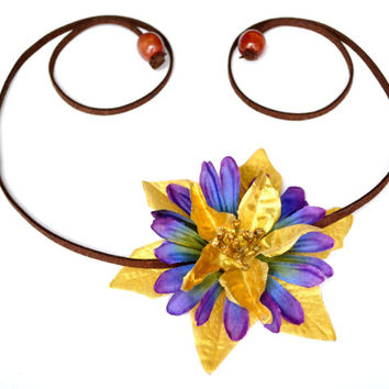 MARDI GRAS Flower Crown Party Headpiece Side Floral Piece Gold and Purple Mardi Gras Headpiece Bohemian Boho Halo Side Crown Festive Flower