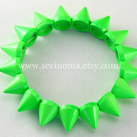 Cone Spikes bracelet, Fluorescent green Hedgehog Jewelry, punk style, steampunk