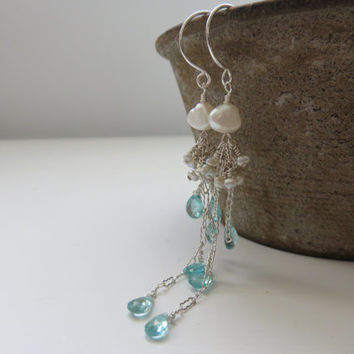 Apatite and Salt Water Keishi Pearl Long Sterling Silver Earrings ~ Wedding/Valentines Day/Mothers Day/Sea Green
