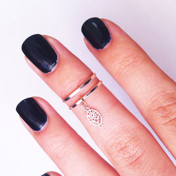 2 Above the Knuckle Rings - silver plated thin rings - with an embellished leaf  set of 2 gentle midi rings