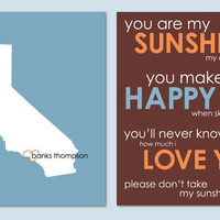 You Are My Sunshine - State Silhouette Heart Print - Modern Nursery Art Custom Baby Gift- set of two 8&quot;x10s&quot;