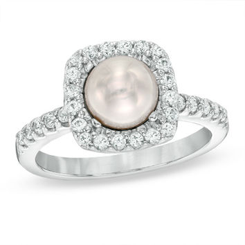 6.5 - 7.0mm Cultured Freshwater Pearl and Lab-Created White Sapphire Frame Ring in Sterling Silver - Size 7