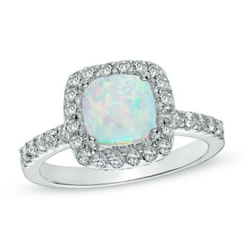 7.0mm Cushion-Cut Lab-Created Opal and White Sapphire Frame Ring in Sterling Silver - Size 7